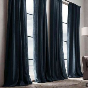 極細繊維カーテン オーダーカーテン UVカット ネイビー 無地柄 麻&綿 1級遮光カーテン(1枚) GT035