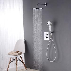 埋込形シャワー水栓 サーモスタット式混合栓 レインシャワーシステム バス水栓 ヘッドシャワー+ハンドシャワー クロム