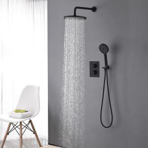 埋込形シャワー水栓 サーモスタット式混合栓 レインシャワーシステム バス水栓 ヘッドシャワー+ハンドシャワー 黒色