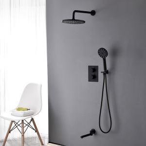 埋込形シャワー水栓 サーモスタット式混合栓 レインシャワーシステム バス水栓 ヘッドシャワー+ハンドシャワー+蛇口 黒色