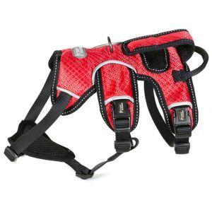 犬用ハーネス ペット胴輪 急き込み防止 引っ張り防止 束縛感なし 調節可能 大型犬 散歩 訓練 軽便 レッド