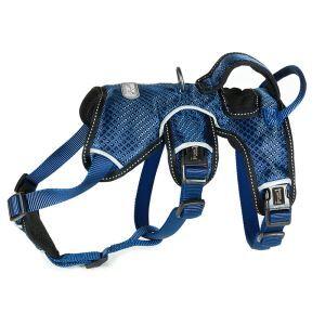 犬用ハーネス ペット胴輪 急き込み防止 引っ張り防止 束縛感なし 調節可能 大型犬 散歩 訓練 軽便 ブルー