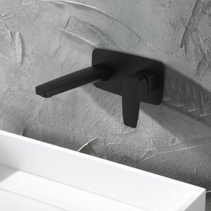 壁付水栓 バス水栓 洗面蛇口 冷熱混合水栓 水道蛇口 水栓金具 黒色