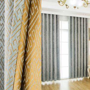 遮光カーテン オーダーカーテン ジャカード シェニール 迷宮柄 欧米風 3級遮光カーテン(1枚)