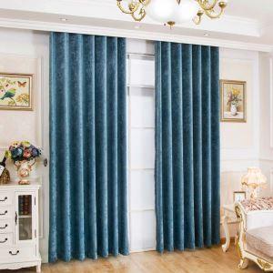 遮光カーテン オーダーカーテン シェニール 無地柄 青色 米式 3級遮光カーテン(1枚)