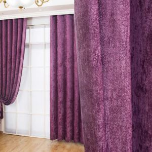 遮光カーテン オーダーカーテン シェニール 無地柄 紫色 米式 3級遮光カーテン(1枚)