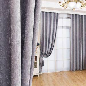 遮光カーテン オーダーカーテン シェニール 無地柄 灰色 現代風 3級遮光カーテン(1枚)