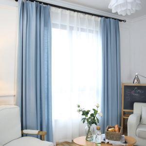 遮光カーテン オーダーカーテン 綿麻 無地柄 青色 現代風 遮熱カーテン(1枚)
