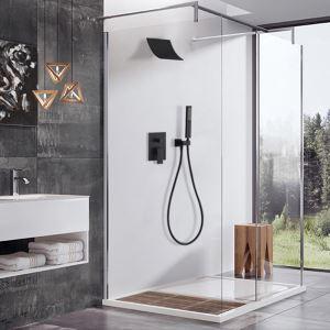 埋込形シャワー水栓 バス水栓 ハンドシャワー+ヘッドシャワー 風呂用蛇口 黒色