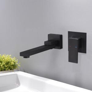 壁付水栓 バス水栓 洗面蛇口 冷熱混合水栓 水道蛇口 水栓金具 黒色 180°回転
