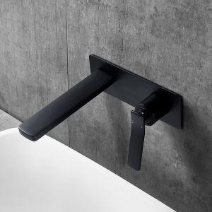 壁付水栓 バス水栓 洗面蛇口 水道蛇口 冷熱混合水栓 水栓金具 黒色