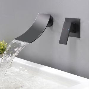 浴槽水栓 壁付水栓 バス蛇口 冷熱混合栓 水栓金具 黒色