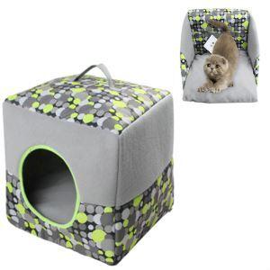 ペットベッド 小屋 ハウス 犬猫兼用 折りたたみ 2way 洗える 便利 オールシーズン マット付く