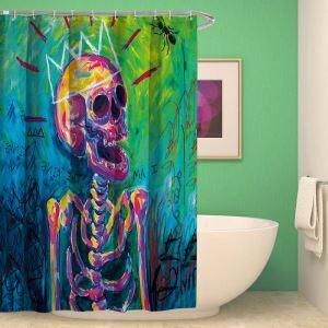 シャワーカーテン バスカーテン 防水防カビ プリント オシャレ 浴室 お風呂 リング付 ドクロ柄 ハロウィン 1枚