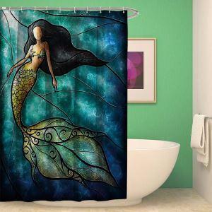 シャワーカーテン バスカーテン 防水防カビ プリント オシャレ 浴室 お風呂 リング付 マーメイド柄 3D立体 1枚