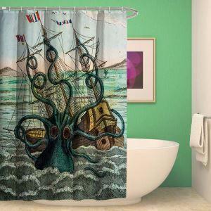 シャワーカーテン バスカーテン 防水防カビ プリント オシャレ 浴室 お風呂 リング付 イカ柄 3D立体 1枚