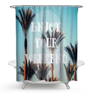 シャワーカーテン バスカーテン 防水防カビ プリント オシャレ 浴室 お風呂 リング付 枝柄 1枚