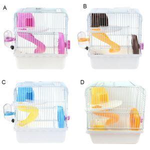 ハムスターケージ 2階ハウス 飼育ケージ 滑り台 王女ルーム 回り車 食器 給水ボトル付き 通気 組立て式 小動物用