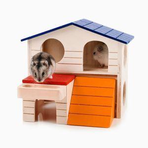 ハムスターハウス 家 小動物の部屋 木製 2階建て 滑り台付き ゲージ内装