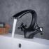 洗面水栓 バス蛇口 冷熱混合水栓 水道蛇口 2ハンドル水栓 黒色 BL6046BT