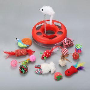 猫のおもちゃ 猫じゃらし 遊ぶ盤 噛むおもちゃ カタツムリ ネズミ ベル ボール いちご セット 15個入り