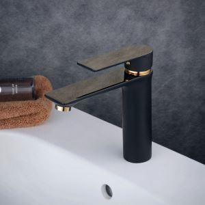 洗面水栓 バス蛇口 冷熱混合栓 立水栓 水道蛇口 手洗器水栓 黒色&金色 BL6378BG
