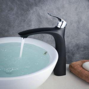 洗面水栓 バス蛇口 冷熱混合栓 立水栓 水道蛇口 手洗器水栓 黒色&クロム BL6628BCH