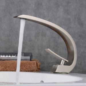 洗面水栓 バス蛇口 冷熱混合栓 立水栓 水道蛇口 手洗器水栓 ヘアライン 弧型 BL9006N