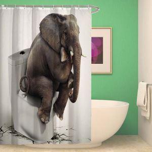 シャワーカーテン バスカーテン 防水防カビ プリント オシャレ 浴室 お風呂 リング付 象柄 3D立体 1枚