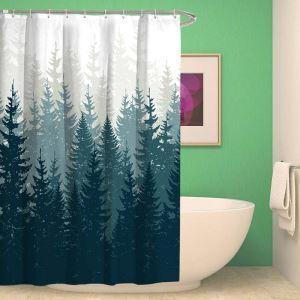シャワーカーテン バスカーテン 防水防カビ プリント オシャレ 浴室 お風呂 リング付 木影柄 1枚
