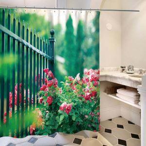シャワーカーテン バスカーテン 防水防カビ プリント オシャレ 浴室 お風呂 リング付 花&草柄 3D立体 1枚