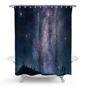 シャワーカーテン バスカーテン 防水防カビ プリント オシャレ 浴室 お風呂 リング付 銀河柄 3D立体 1枚