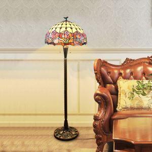 フロアスタンド ステンドグラスランプ ティファニーライト フロアランプ 照明器具 書斎 花柄 2灯 XCL66