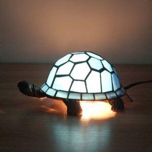 テーブルランプ ティファニーライト ステンドグラスランプ 枕元スタンド ナイトライト 亀型 1灯