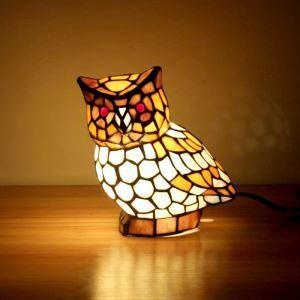 テーブルランプ ティファニーライト ステンドグラスランプ 枕元スタンド ナイトライト フクロウ型 1灯