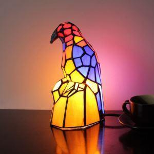 テーブルランプ ティファニーライト ステンドグラスランプ 枕元スタンド ナイトライト オウム型 1灯