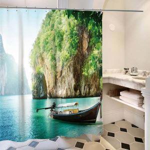 シャワーカーテン バスカーテン 防水防カビ プリント オシャレ 浴室 お風呂 リング付 風景柄 1枚