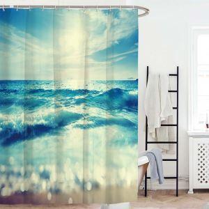 シャワーカーテン バスカーテン 防水防カビ プリント オシャレ 浴室 お風呂 リング付 海柄 3D立体 1枚