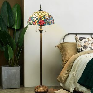 フロアスタンド ステンドグラスランプ ティファニーライト フロアランプ 照明器具 書斎 花柄 2灯 XCL102