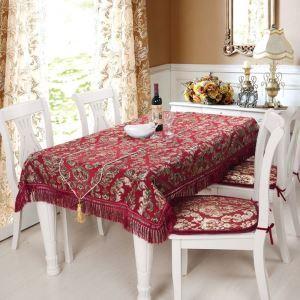 テーブルクロス テーブルランナー テーブルカバー 形状記憶 シェニール 欧米風 赤色 150*200cm 160*220cm