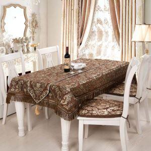 テーブルクロス テーブルランナー テーブルカバー 形状記憶 シェニール 欧米風 茶色 150*200cm 160*220cm