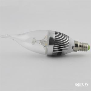 LEDシャンデリア電球 電球色 3W E12 270LM AC85-265V 銀色 キャンドル型 6個入り