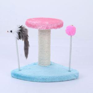 猫タワー 爪研ぎタワー ボール付き ネズミ付き 据え置き 爪とぎ 扇形土台 家具傷防止 ストレス解消