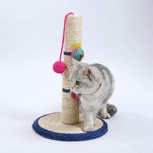 猫タワー 爪研ぎタワー ボール付き 麻巻き 据え置き 爪とぎ 円形土台 家具傷防止 ストレス解消