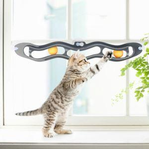 猫のおもちゃ ボールおもちゃ 窓に取付る ピンポン 吸盤おもちゃ ストレス解消 肥満防止
