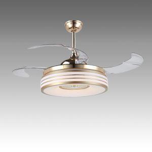 LEDシーリングファンライト シャンデリア 照明器具 リビング照明 ダイニング照明 オシャレ LED対応 リモコン付 金色 QM50191