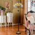 フロアスタンド ステンドグラスランプ ティファニーライト フロアランプ 照明器具 書斎 ヤンマ柄 青色 2灯 XCL109