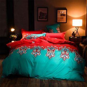 布団セット 掛け布団カバー ボックスシーツ まくらカバー 寝具カバー 敷き布団 ふとん ベッドシーツ 捺染 赤青色 米式 4点セット
