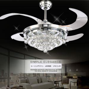 LEDシーリングファンライト シャンデリア 照明器具 リビング照明 寝室照明 オシャレ LED対応 リモコン付 銀色 QM2098