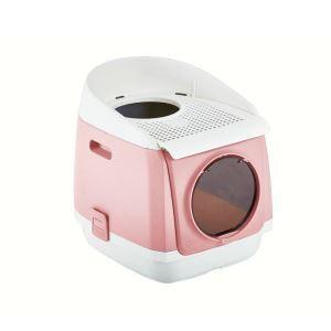 猫トイレ ダブルドア 閉鎖式猫トイレ アンチスプラッシュ 折り畳み 消臭 飛び散り防止